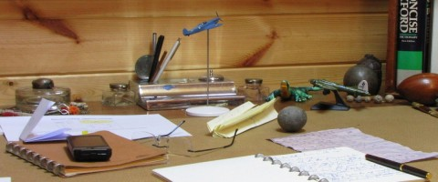 My desk, uncluttered, many years ago.